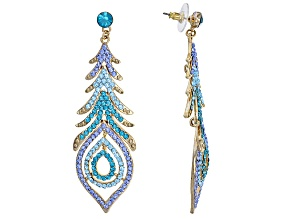 Multicolor Crystal Antiqued Gold Tone Feather Earrings