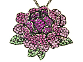 Multicolor Crystal Antiqued Gold Tone Peony Pin/Pendant With Chain
