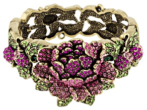 Multicolor Crystal Antiqued Gold Tone Peony Bracelet