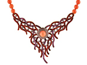 Multicolor Crystal Imitation Coral Pink Bead Antiqued Gold Tone Statement Necklace