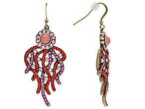 Multicolor Crystal Imitation Coral Antiqued Gold Tone Dangle Earrings