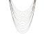 White Crystal Silver Tone Multi Strand Necklace