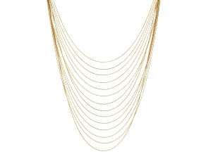 White Crystal Gold Tone Multi Strand Necklace