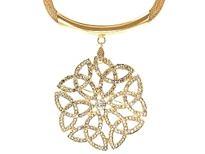 White Crystal Gold Tone Medallion Pin/Pendant With Chain