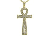 White Crystal Gold Tone Ankh Pin/Pendant With Chain