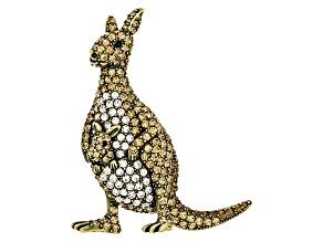 Multicolor Crystal Antiqued Gold Tone Kangaroo Brooch