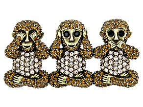 Multicolor Crystal Antiqued Gold Tone 3 Monkeys Brooch