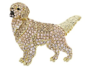 Multicolor Crystal Gold Tone Golden Retriever Brooch