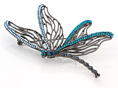 Multicolor Swarovski Elements ™ Gunmetal Tone Dragonfly Brooch