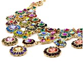 Multicolor Crystal Antiqued Gold Tone Statement Necklace