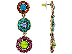 Multicolor Crystal Gold Tone Dangle Earrings
