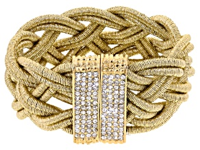 White Crystal Gold Tone Braided Bracelet