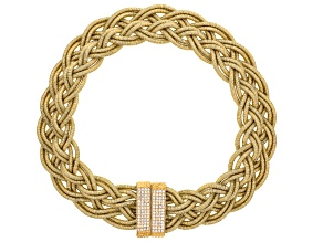 White Crystal Gold Tone Braided Statement Necklace