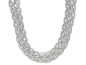 White Crystal Silver Tone Braided Statement Necklace