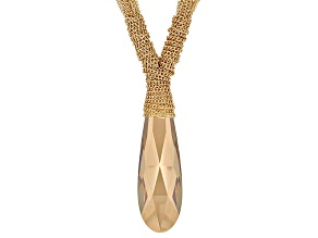 Champange Crystal Gold Tone Multi Strand Necklace