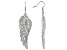 Womens Round White Crystal Solid Silver Tone Fish Hook Angel Wing Earrings