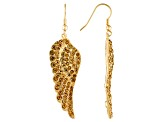 Womens Round Brown Crystal Solid Gold Tone Fish Hook Angel Wing Earrings