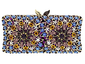Off Park ® Collection Multicolor Crystal Gold Tone Floral Clutch