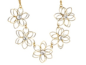 White Crystal Gold Tone Floral Necklace
