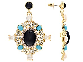 White Crystal Turquoise Simulant Pearl Simulant Lapis Simulant Gold Tone Earrings