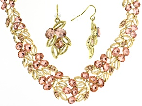 Pink Crystal Gold Tone Statement Necklace And Earring Set
