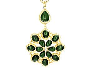 Jade Simulant Pearl Simulant Gold Tone Pendant With Chain