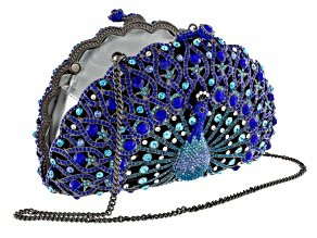 Multicolor Crystal Gunmetal Tone Peacock Clutch With Chain