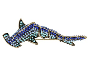 Blue Crystal Antiqued Gold Tone Shark Brooch