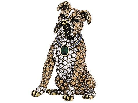 Multicolor Crystal Antiqued Gold Tone Boxer Brooch