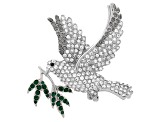 Multicolor Crystal Silver Tone Dove Brooch
