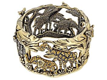 Picture of Multicolor Crystal Antiqued Gold Tone Safari Cuff Bracelet