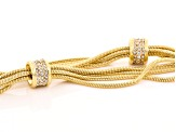 White Crystal Gold Tone Multi Chain Necklace