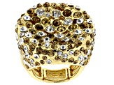 Multicolor Crystal Gold Tone Stretch Ring