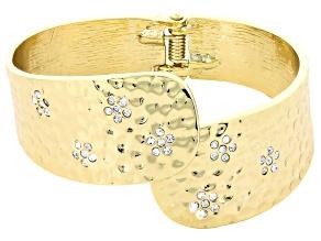 White Crystal Gold Tone Cuff Bracelet