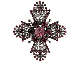 Purple Swarovski Elements ™ Antiqued Silver Tone Cross Brooch