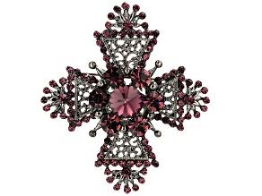 Purple Swarovski Elements ™ Antiqued Silver Tone Cross Brooch
