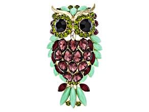 Multicolor Crystal Gold Tone Owl Brooch