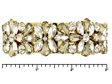 White And Champagne Crystal Gold Tone Bangle