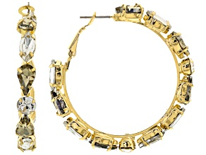 White And Champagen Crystal Gold Tone Hoop Earrings