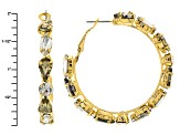 White And Champagne Crystal Gold Tone Hoop Earrings