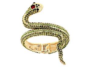 Multicolor Crystal Gold Tone Snake Cuff Bracelet