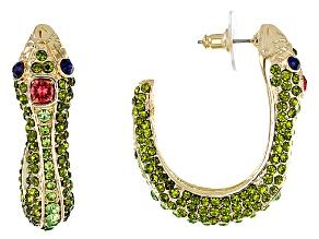 Multicolor Crystal Gold Tone Snake Earrings