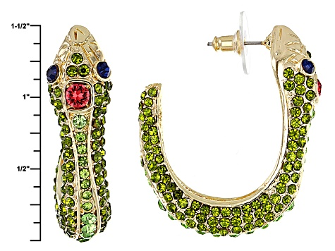 Multicolor Crystal Gold Tone Snake Earrings