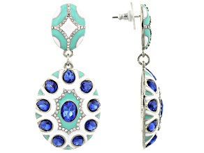 Blue And White Crystal Multicolor Enamel Silver Tone Dangle Earrings