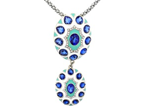 Blue And White Crystal Multicolor Enamel Statement Necklace