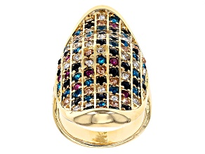 Multicolor Crystal Gold Tone Statement Ring