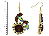 Multicolor Crystal Gold Tone Earrings