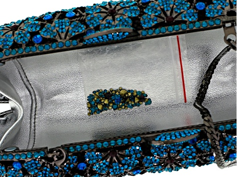 Multicolor Crystal Gunmetal Tone Floral Clutch