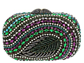 Multicolor Crystal Gunmetal Tone Feather Clutch