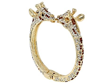 Multicolor Crystal Gold Tone Giraffe Bracelet